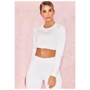 House of CB 'Prism' White Silky Jersey Sweatshirt
